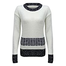 Luxury Divas Fuzzy Knit Sweater With Contrasting Pattern