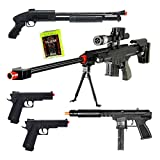 Mixed Lot of 5 Airsoft Guns Sniper Rifle Shotgun Spring Pistols & 1,000