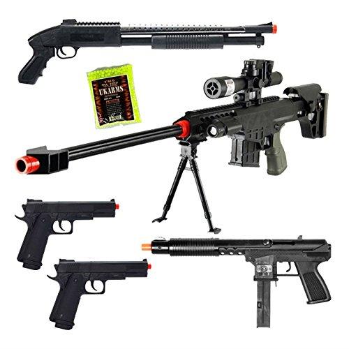Mixed Lot of 5 Airsoft Guns Sniper Rifle Shotgun Spring Pistols & 1,000 6mm BBs Toy Guns Guaranteed Quality ()