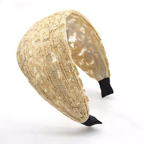 - Lace Hairband Black Flowers Head Wrap Women's Classic Hairband Hair Accessory (BEIGE STRIP) (Elephant Ears Flower)