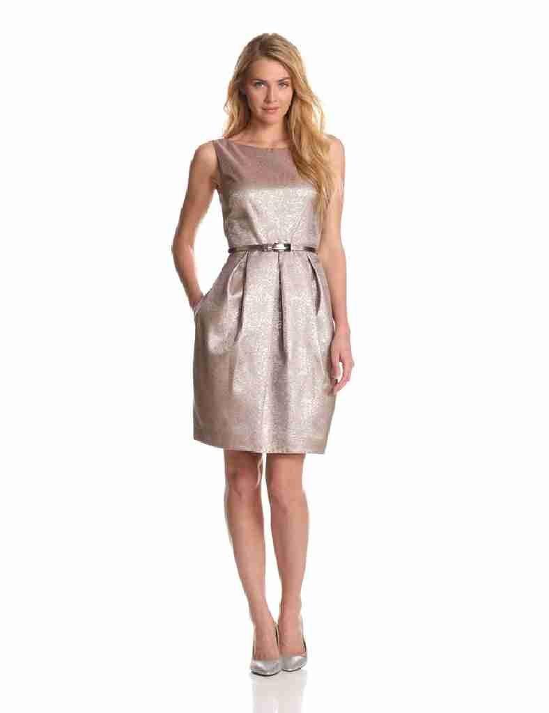 Eliza J Women's Sleeveless Dress with Pleating, Multi, 12
