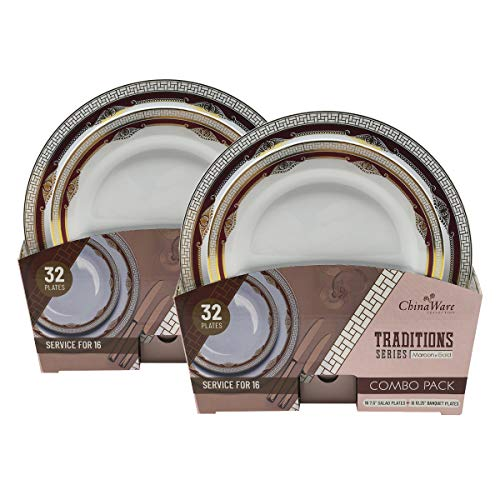 - Traditions Series (Salad & Banquet Plate) 2 Combo Packs (Maroon/Gold)