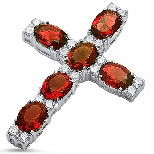 Blue Apple Co. Cross Pendant Cross Charm Round Oval Simulated Garnet Cubic Zirconia 925 Sterling Silver (44mm)