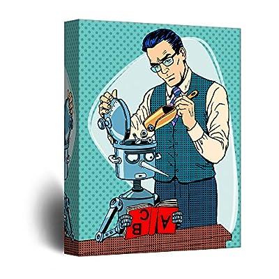 Amazing Picture, Robot Scientist Comic Strip Pop Art, Classic Design