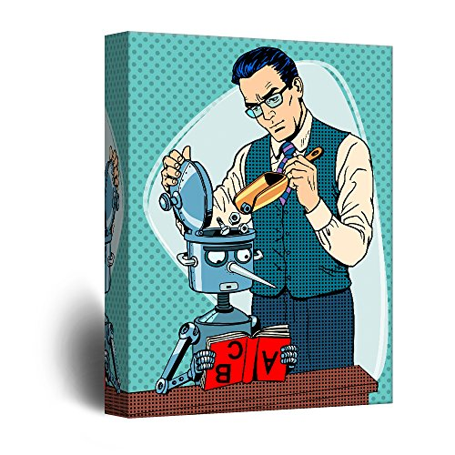 Robot Scientist Comic Strip Pop Art