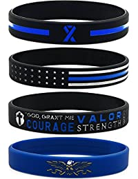 Thin Blue Line Silicone Wristband Set with Policeman's Prayer and American Flag - Law Enforcement Jewelry Gifts Accessories for Police Officers Cops