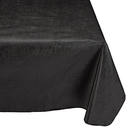 Carnation Home Fashions Vinyl Tablecloth with Polyester Flannel Backing, 52-Inch, by 90-Inch, Black -