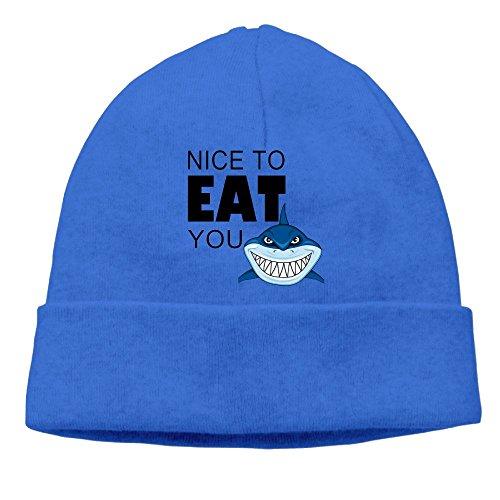 Uanjuzn Nice To Eat You Shark Men/Women Cool Fashion Hedging Hat Wool Beanies Cap RoyalBlue - Coming To America Movie Costumes