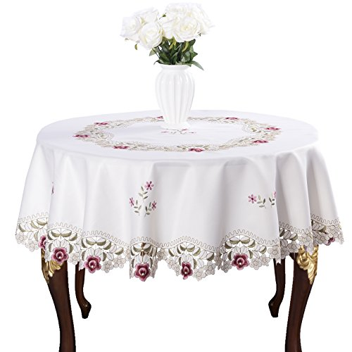 Damask Rose red Little Plum Embroidered Beige Tablecloth Round 60 inch ()