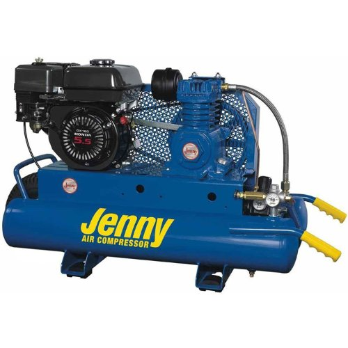 Jenny K5hga 8P Single Stage Wheeled Portable Gasoline Engine Air Compressor With K Pump  8 Gallon Tank  5 5 Hp