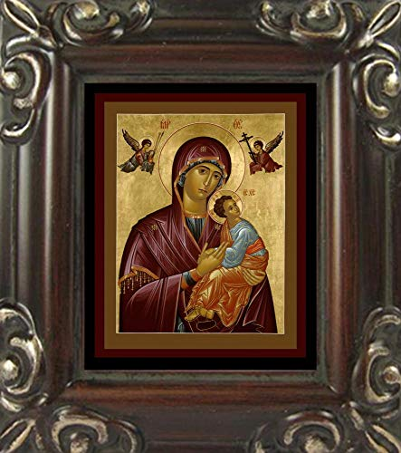 Trinity Stores Mini Magnet Framed Religious Art Print - Walnut-3¾x4¼ - Our Lady of Perpetual Help by Br. Robert Lentz, OFM