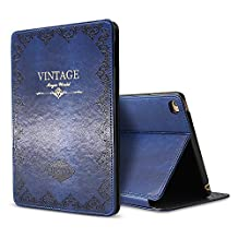 iPad Air 2 Case Cover,Modern Vintage Book Style Case for Ipad Air 2,Premium PU Leather Smart Case Auto Sleep Wake Slim Fit Multi Angle Stand,Blue