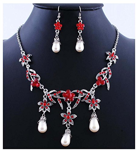 [Luck Wang Woman's Unique Fashion Style Pearl Pendant Necklace Earrings Set(2#)] (Gumdrop Fairy Costume)