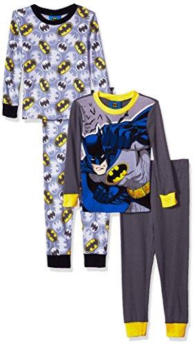 DC Comics Boys Batman Superhero 4-pc Pajama, 2 Sets, Long Sleeve & Pant