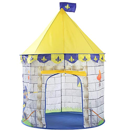 ACCDUER Kids Play Tent Knight Castle, Kids Pop Up Tent Foldable Into Carrying Bag-Indoor and Outdoor Cartoon Pictures Playhouse-Best Gift for -
