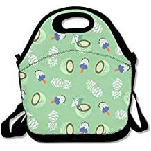 WSXEDC Lunch Bag Pineapple And Ice Cream Printing Handbag With Adjustable Shoulder Strap For Picnic School