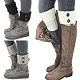 Bestjybt 3 Pairs Womens Short Boots Socks Crochet Knitted Boot Cuffs Leg Warmers Socks, Style 01