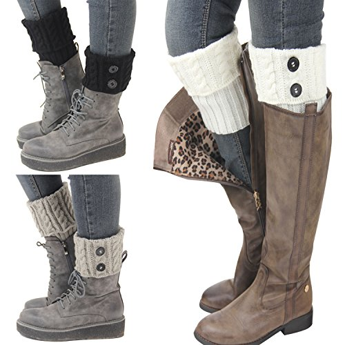 - Bestjybt 3 Pairs Womens Short Boots Socks Crochet Knitted Boot Cuffs Leg Warmers Socks, Style 01