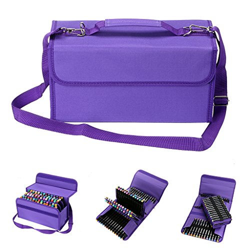BTSKY Handy 80 Slot Carrying Lipstick Organizer Marker Case Holder for Copic Prismacolor Touch Spectrum Noir Paint S, Purple by BTSKY