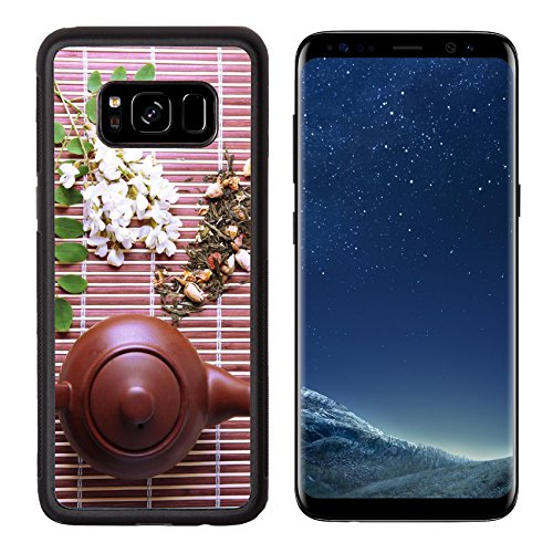 Liili Premium Samsung Galaxy S8 Aluminum Backplate Bumper Snap Case natural floral tea infusion with dry flowers ingredients on bamboo mat background 29374900
