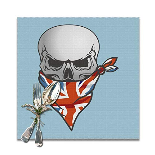 BUN Placemats Square Set of 6 for Dining Room Kitchen Table Decor, UK Flag Skull Print Table Mats Washable]()
