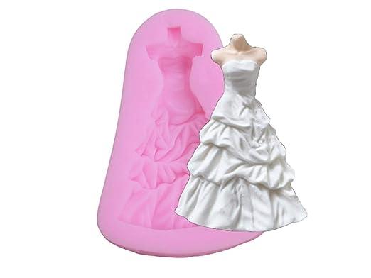 Molde de la galleta Vestido de Novia Fondant Molde de Silicona Que adorna el Molde del Vestido del Molde (Color : Pink, tamaño : 7.9 * 5.5 * 1.2cm): ...