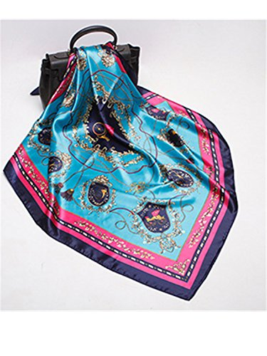 Satin Leopard Blue (Gomis Fashion Women Scarf Luxury Brand Pink Leopard Hijab Silky Satin Shawl Scarfs Square Head Scarves Wraps Peacock Blue 90cm)