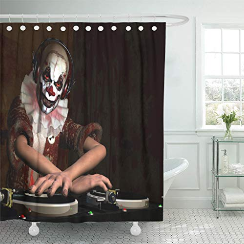 Emvency Shower Curtain 72 x 72 inches Scary Clown Dj is in The House and Mixing Up Some Halloween Horror Front Set with Hooks Decorative Waterproof Polyester Fabric Bathroom Shower Curtains