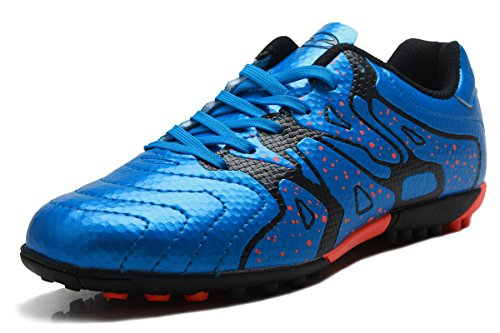 T&B Soccer Shoes Cleats Kids Sports Football Boots Low-Top Blue Black No.75523-TL-34-2.5US