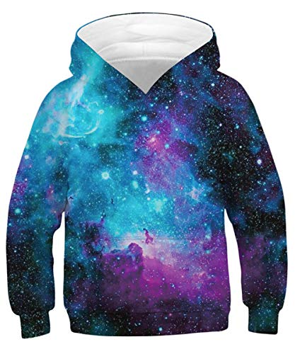 ENLACHIC Unisex Realistic 3D Print Pullover Hoodie Funny Pattern Hooded Sweatshirts Pockets for Teens Jumpers,Space Galaxy Star,Size M Fit 8-11 Y