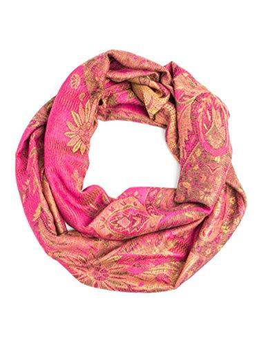 Bohomonde, Ramaya Infinity Scarf, Richly Colored Rare Infinity Pashmina Scarf (Hot (Hot Pink Pashmina Scarf)