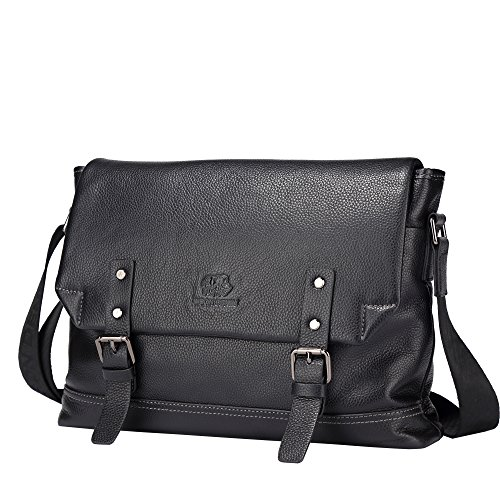 BISON DENIM Laptop Messenger Bag Genuine Leather Crossbody Bag Mens Shoulder Purse ()
