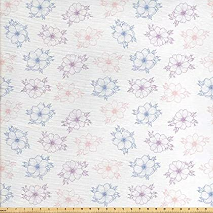 Image of Ambesonne Anemone Flower Fabric by The Yard, Bridal Corsage Design Garden Bedding Plants in Soft Colors, Decorative Fabric for Upholstery and Home Accents, 10 Yards, Dried Rose Slate Blue Home and Kitchen