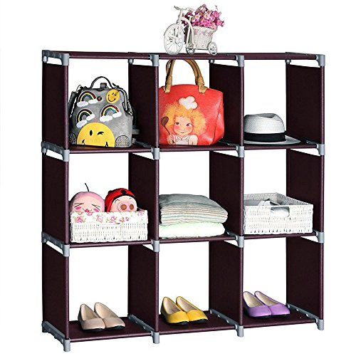 Yuehang Cube Storage 9-Cube Closet Organizer Cube Organizer Storage Shelves Bookcase Bookshelf Clothes Cabinets Storage Cubes Bins Cubbies Shelving for Bedroom Living Room Office, Brown