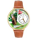 Golf Bag Tan Leather And Goldtone Watch #WG-G0810002