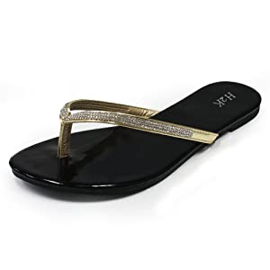 Flip Flops for Women, H2K 'FLASH STONE' Women's Fashion Comfort Slip-On Flip-Flops [Thong Sandal] Flat Slippers with Rhinestones Embellished Strap - Black and Gold Size 7 M [US Size]
