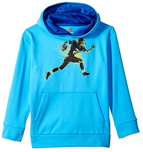 Hanes Boys' Big' Tech Fleece Pullover Raglan Hoodie, Hydro/geo Black, 2X Large