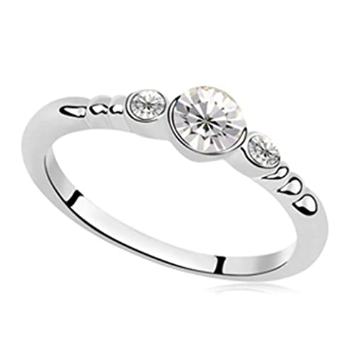 Epinki Gold Plated Ring Womens Wedding Bands 3 Round Cubic Zirconia 3 Round Cubic Zirconia Ring