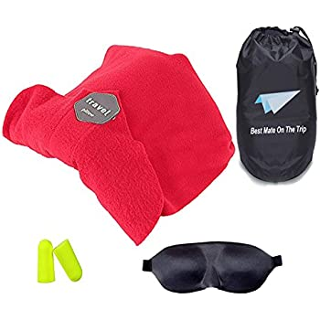Travel Neck Pillow Scarf Support for Airplanes Soft Flight Sleep with Gifts(Portable Cover Bag,Eye-patch & Earplugs)(RED)
