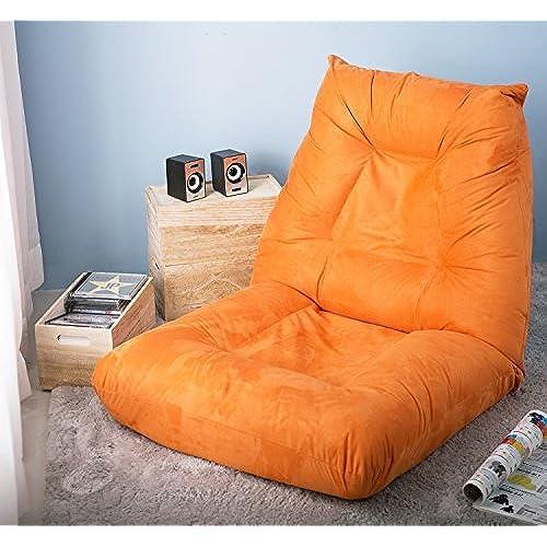 Merax Adjustable 5 Position Floor Chair Folding Lazy Sofa Floor Sofa Chair  Cushion Orange