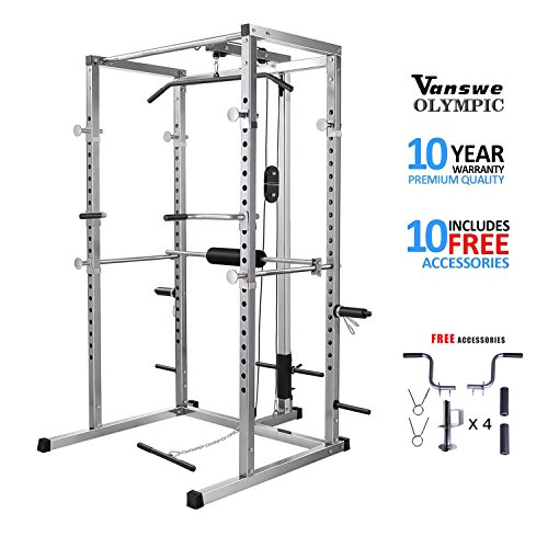 Power Rack with Lat Pull Attachment and Dip Handle Power Cage Home Gym Equipment Exercise Stand Olympic Squat Cage (Home Cage)