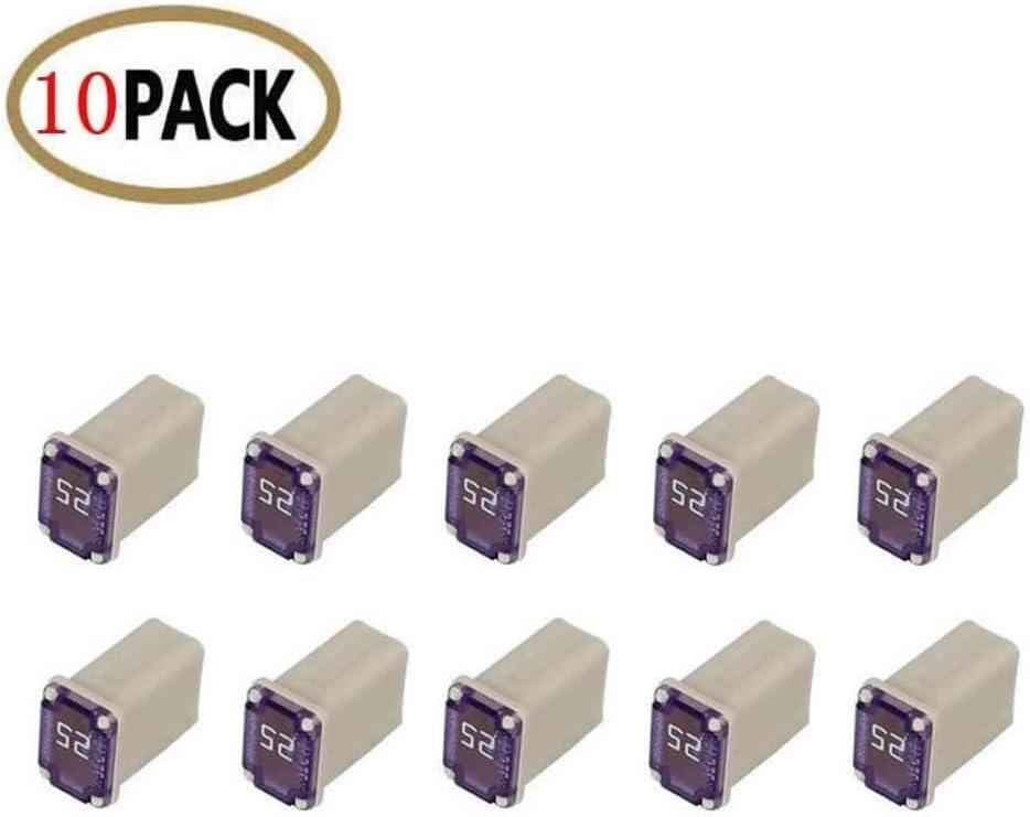 10 Pc Automotive MCASE Mini Box Shaped Cartridge Fuse Kit for Cars, Trucks, and SUVs (25 Amp)