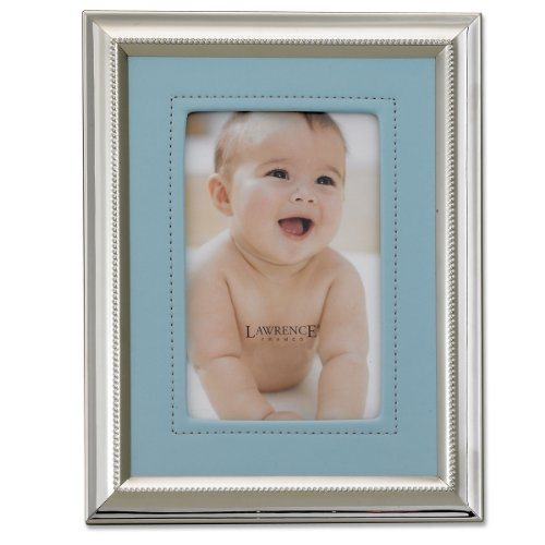 Lawrence Frames Silver Plated 5 by 7 Metal Picture Frame with Blue Fau by Leather Mat