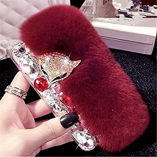 - Galaxy A8 Case,Deluxe Luxury Fox Head Fluffy Furry Soft Warm Beaver Rex Rabbit Hair Fur Glitter Diamond Crystal Rhinestone Case for Samsung Galaxy A8 5.7 Inch 2015 Smartphone(Wine Red)