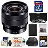 Sony Alpha E-Mount 10-18mm f/4.0 OSS Wide-angle Zoom Lens + 32GB Card + Battery + Case + 3 Filters Kit for A7, A7R, A7S Mark II, A5100, A6000, A6300
