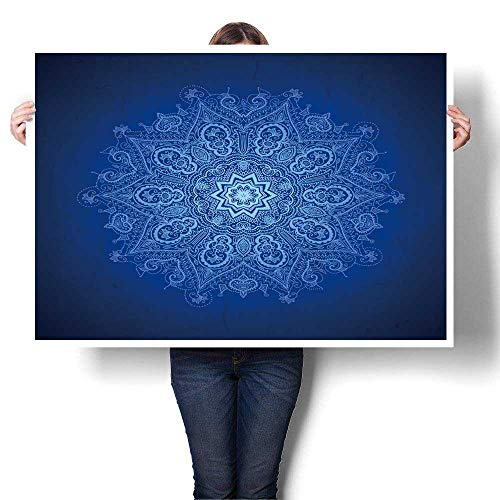 Hanging Painting,Abstract Vector Circle Floral Ornamental Border Lace Design White Ornament on Blue Ready to Hang for Home Decorations Wall Decor,24