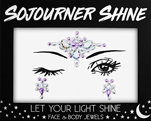 Face Jewels Glitter Gems Rhinestones - Eye Body Jewels Gems | Rhinestone Stickers | Body Glitter Festival Rave & Party Accessories by SoJourner (Lavender Love)