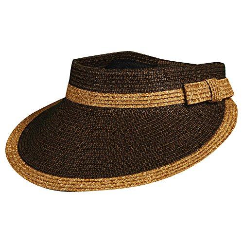 - Scala Two Tone Paper Braid Visor Hat (Chocolate)