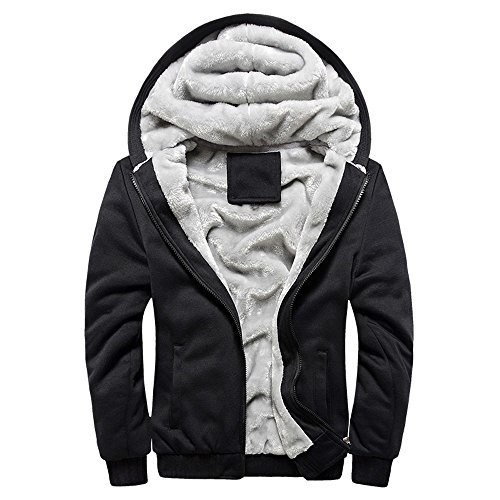 Toimothcn Mens Faux Fur Lined Coat Winter Warm Fleece Hood Zipper Sweatshirt Jacket Outwear (Black2,M)