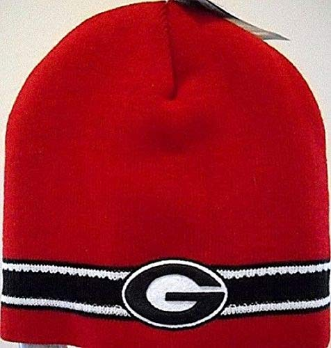Captivating Headwear Georgia UGA Bulldogs 2-Sided Embroidered Red Knit Cap Hat Beanie Skully Toboggan with School Logos and Stripes on Bottom ()